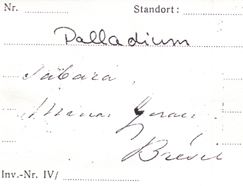 Photocopy of Wollaston's original label for PdB3/6.01  Palladium Photo by Dakota Matrix